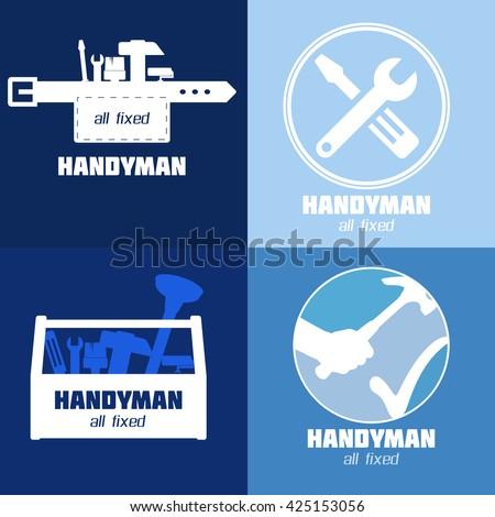 handyman business sign vector set amenities stock vector 425153056