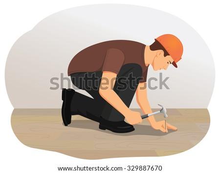 Handyman hammering a nail into wood. Installing wooden flooring. - stock vector