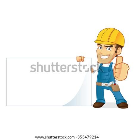 handyman holding a blank sign - stock vector