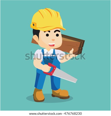 handyman holding wooden and hacksaw