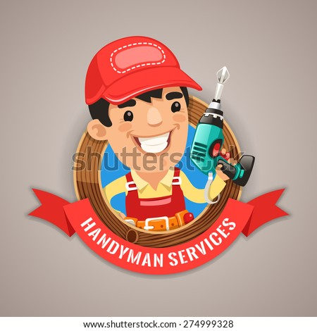 Handyman Services Emblem for Your Carpentry Company Projects - stock vector