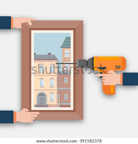 Hang a picture. Repair and renovation in the room. Flat style vector illustration.