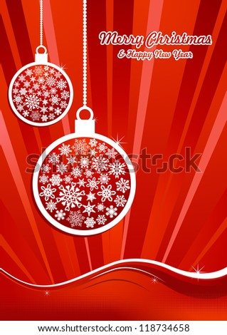 Hang christmas bauble over red waving background. Vector illustration layered for easy manipulation and custom coloring.