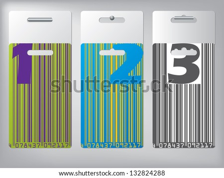 Hangable label set with options illustrated by numbers - stock vector