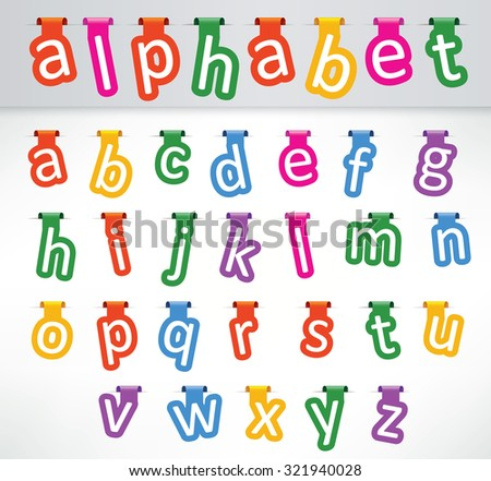 Hanged letters of the alphabets lowercase characters - stock vector
