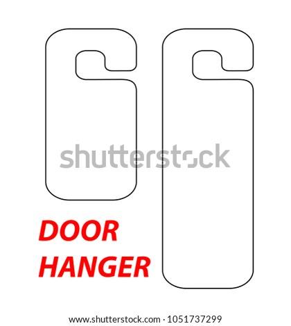 Hanger Die Cut Template Vector Black Stock Vector - Door hang tag template