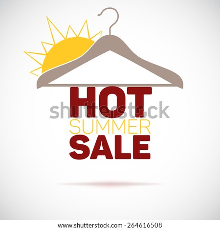 Hanger, hot summer sale poster.  Flat style vector illustration. - stock vector
