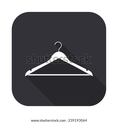 hanger icon - vector illustration with long shadow isolated on gray - stock vector