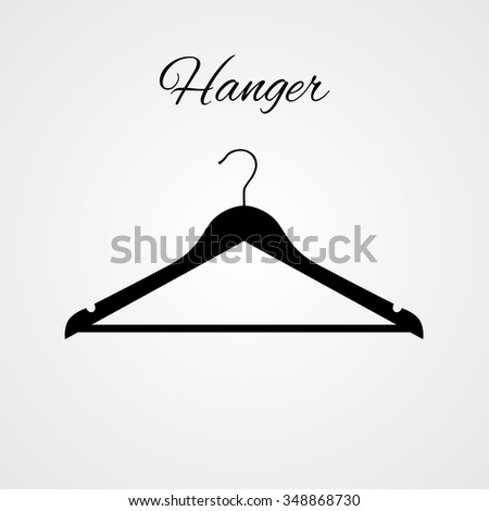 Hanger icon with title, vector illustration, coat rack symbol - stock vector