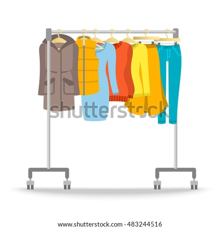 Hanger rack warm women clothes winter stock vector for Furniture to hang clothes