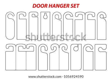 Hanger Set Die Cut Template Empty Stock Vector Shutterstock - Door hang tag template