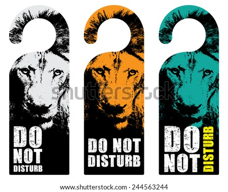 hanger sign do not disturb with lion background - stock vector
