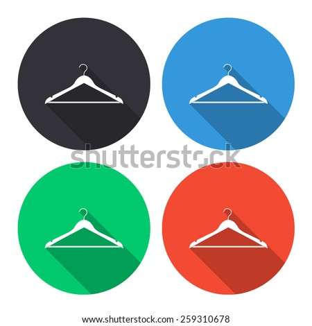 hanger vector icon - colored(gray, blue, green, red) round buttons with long shadow - stock vector