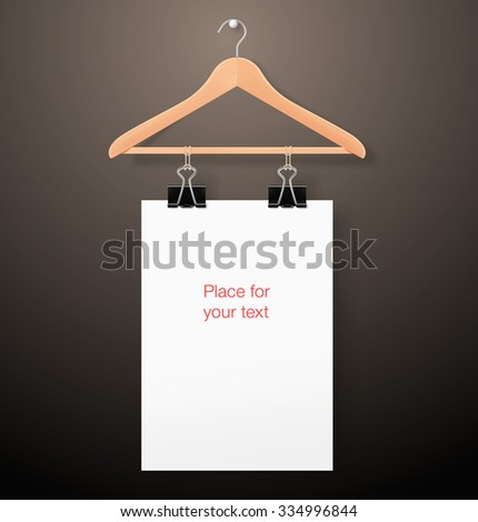 Hanger with paper sheet on dark background. Template for your design. It can be use for adv, promo, etc. - stock vector