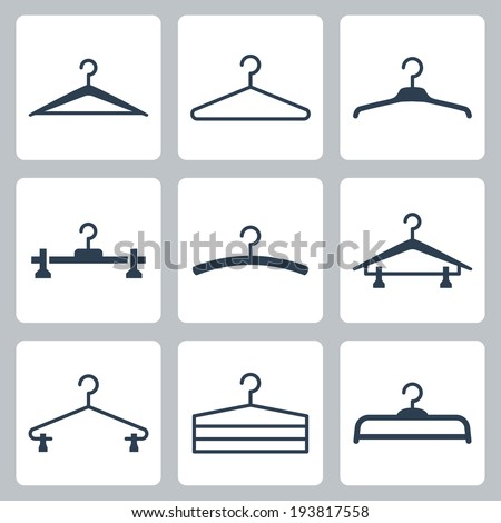 Hangers vector icons set - stock vector
