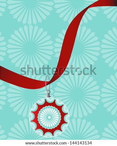 hanging bauble on red ribbon - stock vector