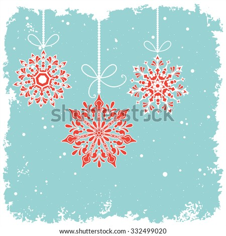 Hanging bauble snowflakes over grunge snowy background - room for your input  - stock vector