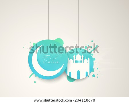 Hanging blue stickers with crescent moon and mosque on grey background for Muslim community festival Eid Mubarak celebrations.  - stock vector