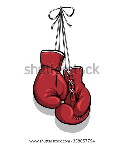 Hanging boxing gloves vector - stock vector