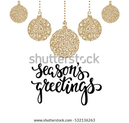 Hanging Christmas Ball Floral Swirl Hand Vector 532136263 – Holiday or Seasons Greetings Invitation Cards
