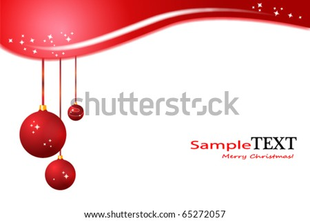 Hanging Christmas balls on a greeting card - stock vector