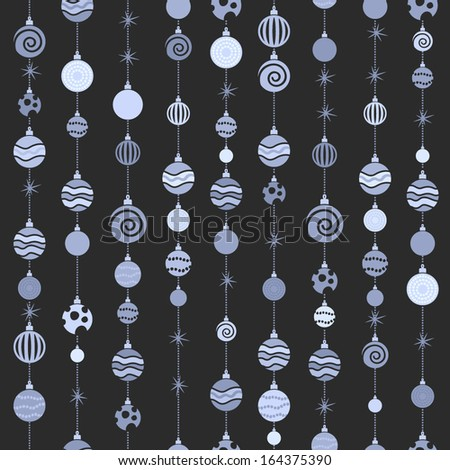 Hanging christmas balls seamless monochrome background