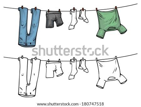 hanging clothes on washing line, color and outline, vector illustration - stock vector