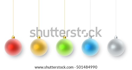 Hanging color Christmas decorations set isolated on white background. Colorful balls collection with shadow vector template.