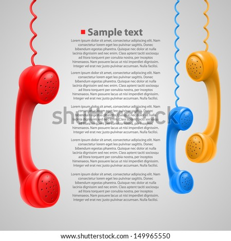 Hanging colored handsets - stock vector