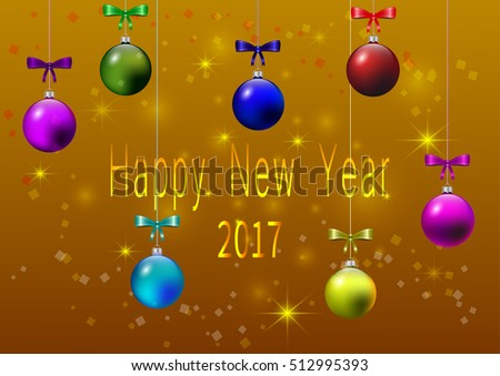 Hanging colorful Christmas balls with ribbons with blurred square and star bokeh with letter happy new year on golden background, vector illustration