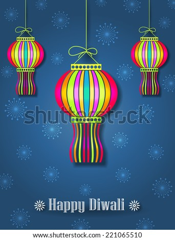Hanging Colorful Diwali Lamps (Kandils) - Diwali Festival Background - stock vector