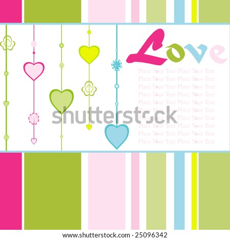 hanging colorful heart-shape background