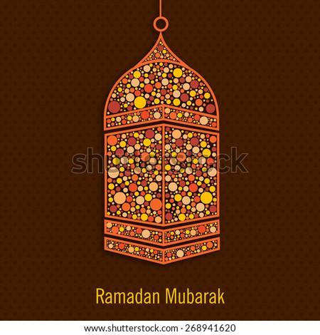 Hanging colourful lantern on brown background for Islamic holy month of prayers, Ramadan Kareem celebration. - stock vector