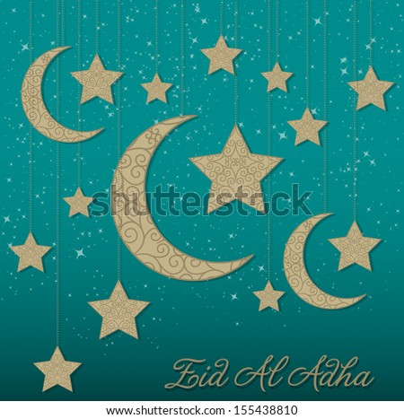 Hanging decoration Eid Al Adha card in vector format. - stock vector