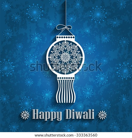 Hanging Decorative Diwali Lamp (Kandil) on Grunge Background - stock vector