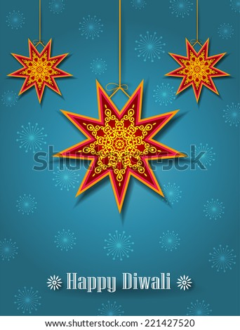Hanging Diwali Start Shape Lamps (Kandil) - Diwali Festival Background  - stock vector