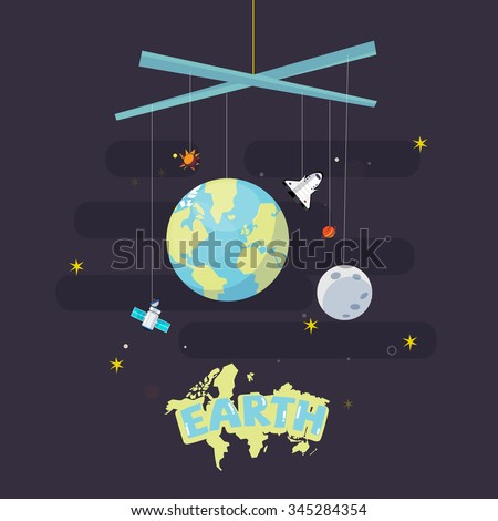 hanging earth, moon and star. come with outer space icon. planet earth concept - vector illustration - stock vector