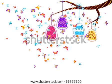 Hanging easter eggs with butterflies - stock vector