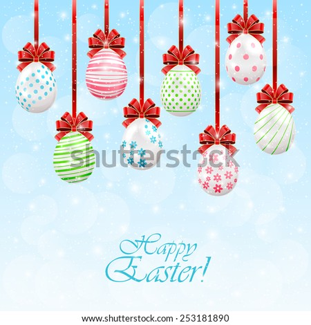 Hanging Easter eggs with red bow on sunny background, illustration. - stock vector