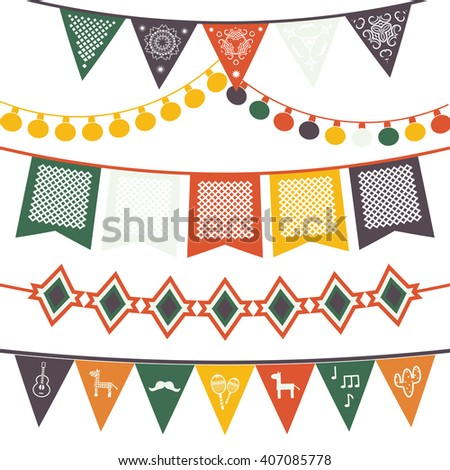 Hanging festive mexican banners, flags, electric lights garlands. Vector illustration isolated on a white background. - stock vector