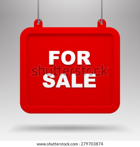 Hanging for sale red sign against a light gray background. Vector illustration - stock vector