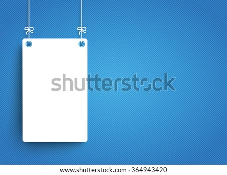Hanging frame on the blue striped background. Eps 10 vector file.