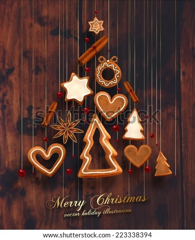Hanging Gingerbread Man Christmas Cookies for Xmas Decoration. Heart, Star, Christmas Tree and Cinnamon Xmas Cookies. Wood Texture Background. Holiday Design. Vector. - stock vector