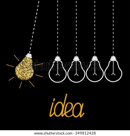 Hanging gold glitter light bulbs. Dash line. Perpetual motion. Idea concept. Vector illustration. - stock vector