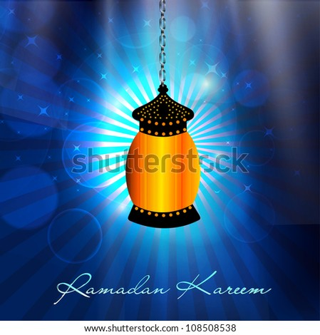 Hanging Intricate Arabic lamp with text Ramadan Kareem on shiny blue rays background. EPS 10. - stock vector
