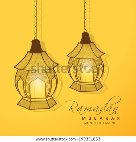 Hanging Intricate lanterns on bright yellow background for holy month of Muslim community Ramadan Kareem.