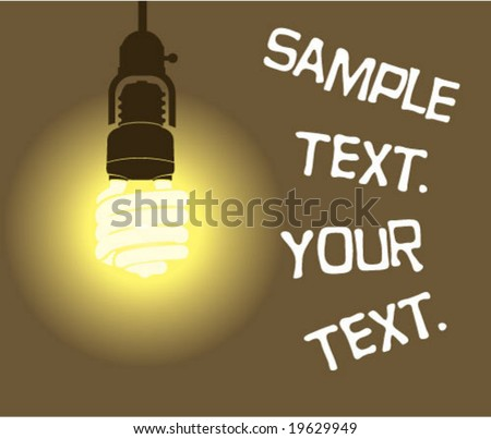 Hanging Light bulb energy efficient sample text poster - stock vector