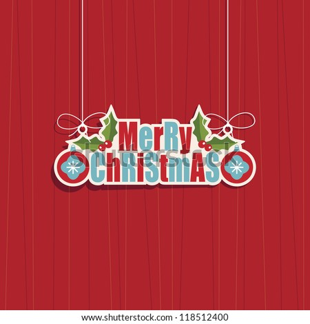 hanging merry christmas decoration on red background - stock vector