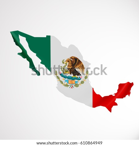 Hanging Mexico Flag In Form Of Map United Mexican States National Flag Concept