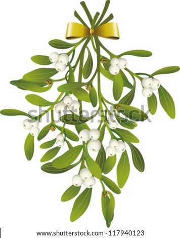 Hanging Mistletoe with golden bow